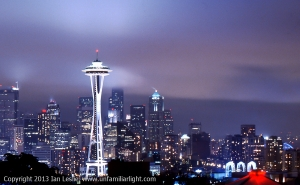 Down town Seattle on a foggy night